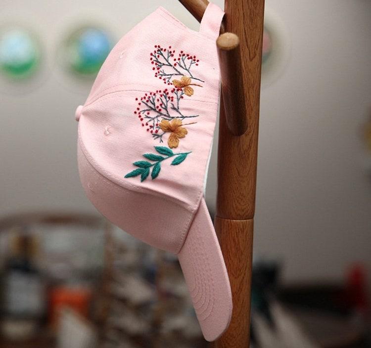 DIY Embroidered Baseball Hat