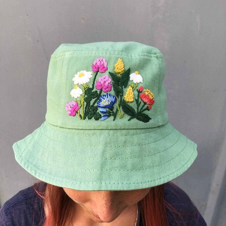 DIY Embroidered Bucket Hat
