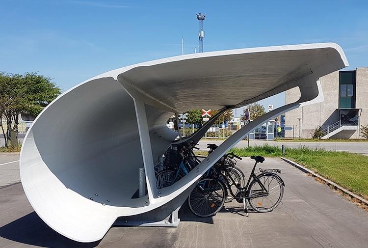 Recycling Wind Turbine Blades as Bike Garages