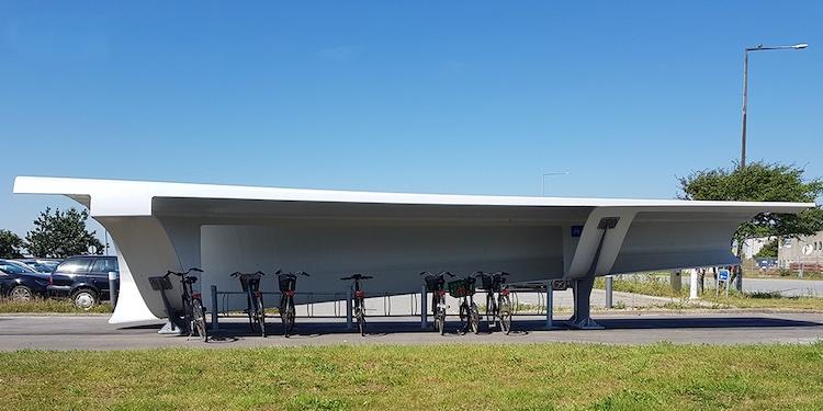 Reusing Wind Turbine Blades as Bike Shelters