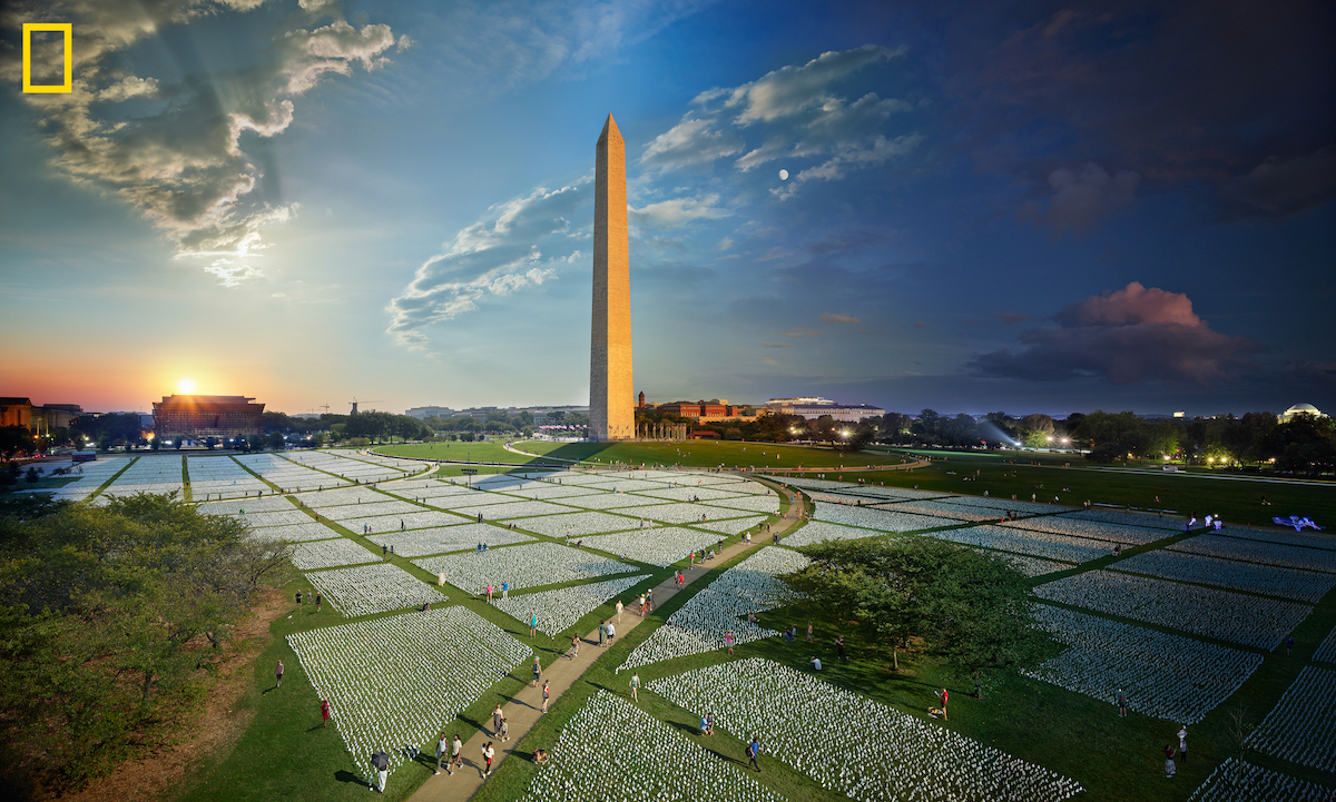 Stephen Wilkes Day To Night at the National Mall In America Covid Memorial