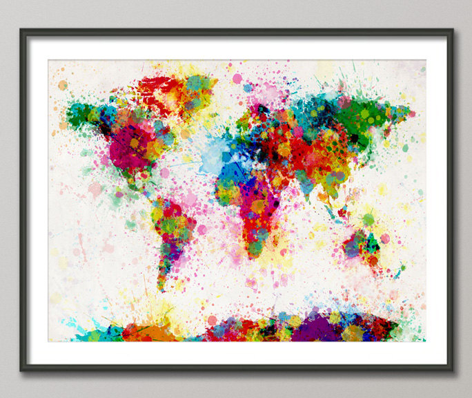 Rainbow colored paint splash maps spain based artist michael tompsett has created a fun series of colorful maps made of paint splashes not only does he have a world map hes also created gumiabroncs Image collections