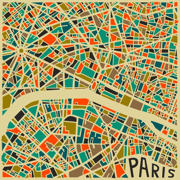 Bold geometric patterns form abstract city maps