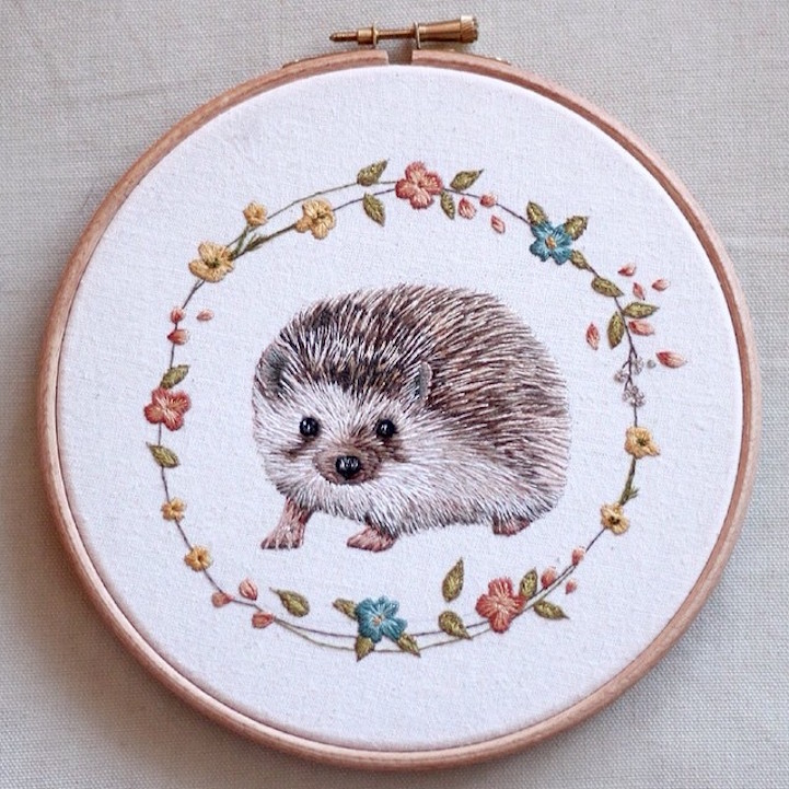 Embroidered animal portraits crafted with meticulous