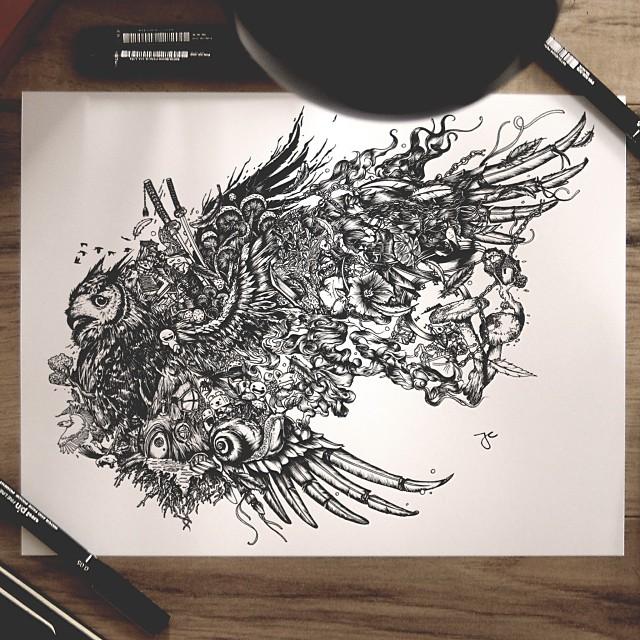 Surreal Hybrid Drawings Bloom And Burst Across Sketchbook