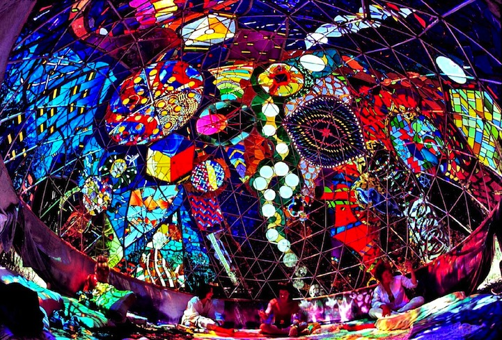 Stunning Colors Glow Inside 7 Foot Stained Glass Dome