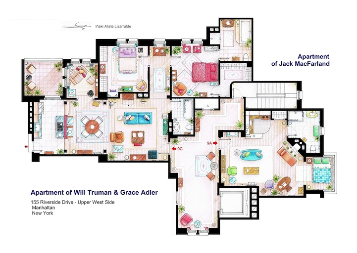 Detailed Floor Plan Drawings of Popular TV and Film Homes – Sitcom House Floor Plans