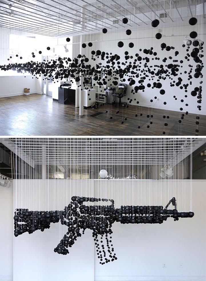 1200 Black Ping Pong Balls Form A Deadly Assault Rifle