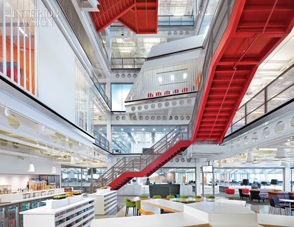Red ribbon staircase zigzags through building for Wilkerson builders