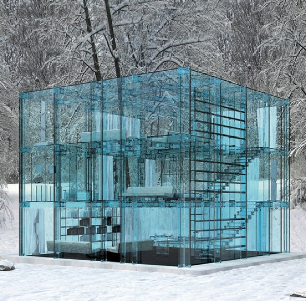 Modern Architecture Crystal Clear Glass House 4 pics