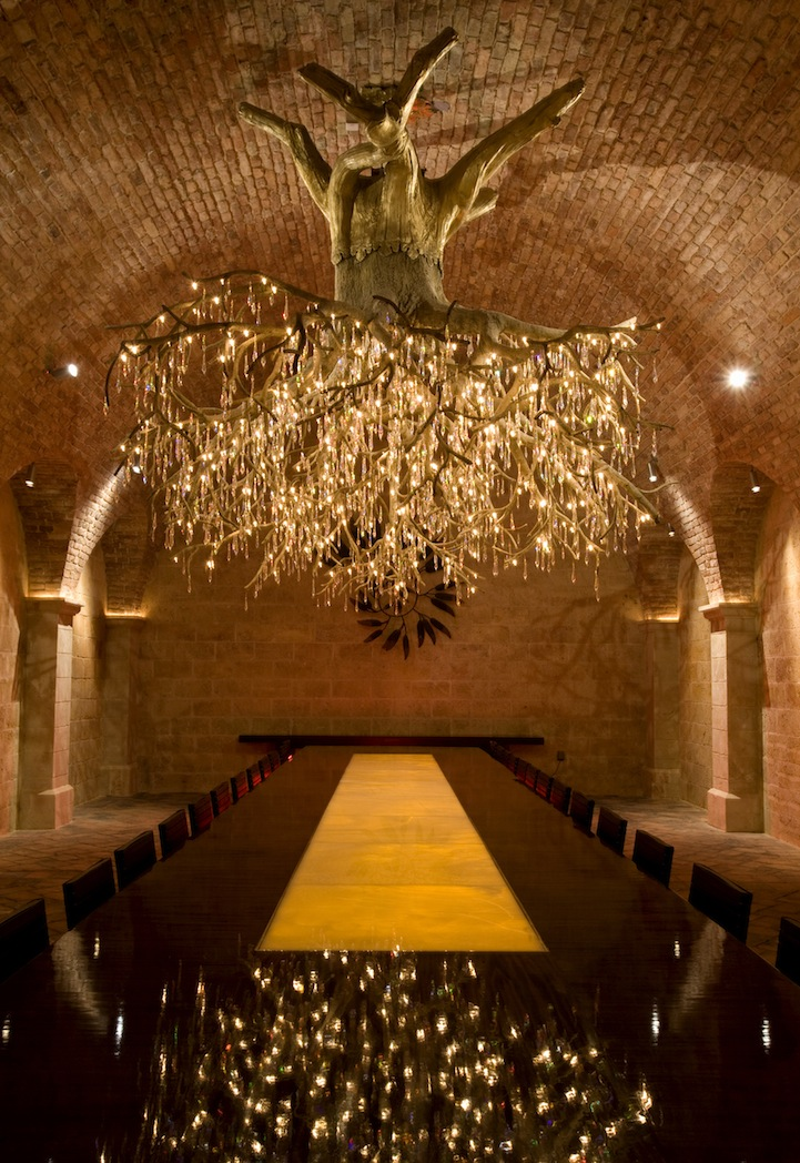 Magnificent chandelier shaped like an upside down tree aloadofball