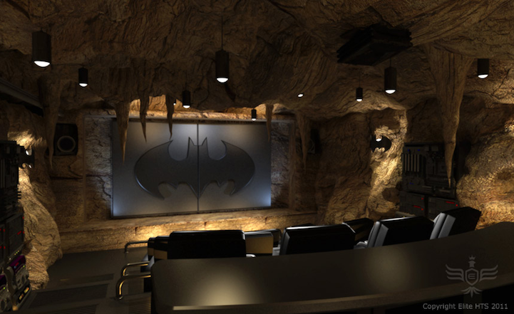 The Ultimate Batcave Home Theater Batmobile Included - Home movie room