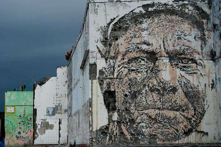 . New Portraits Chiseled Out of Walls by Vhils