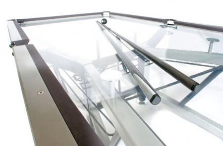 although i kind of dig the sleek modern look of the glass pool table im not completely sold on its structural capacity