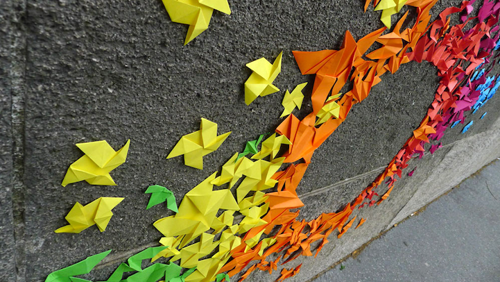 Paper Origami Rainbows Along the Streets of Paris