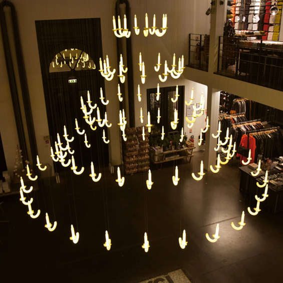 Louis XIV-Inspired Floating Chandelier Made of 91 Porcelain Candles:,Lighting