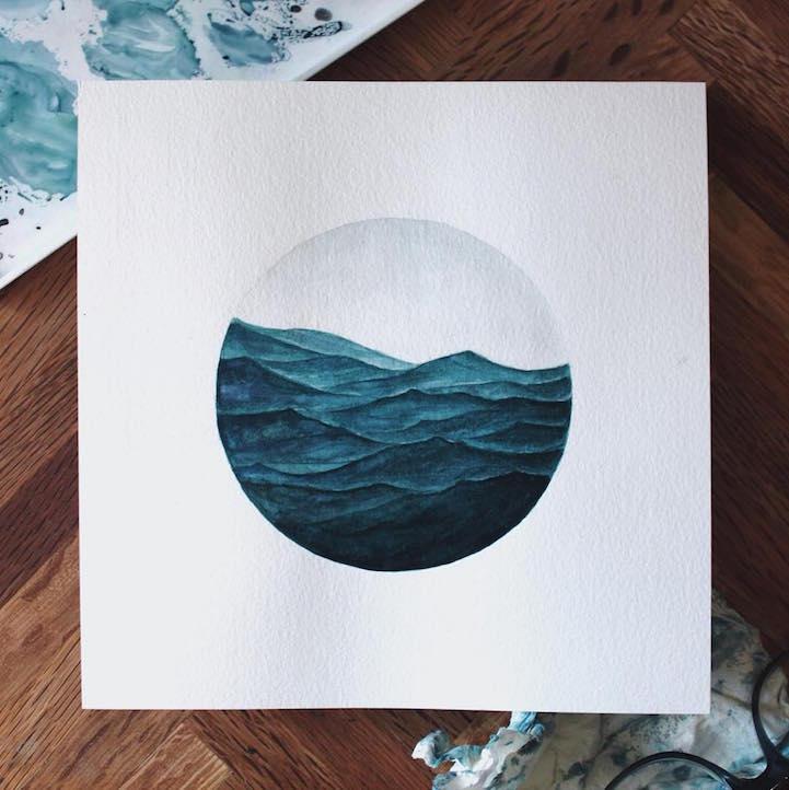 watercolor painting ocean