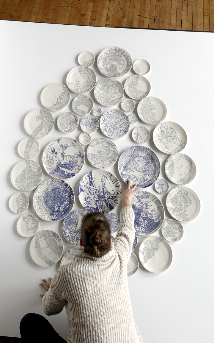 & Beautiful Mosaics Made from Painted Ceramic Plates