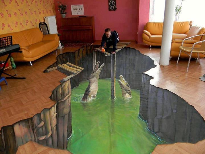 while were used to seeing this kind of trippy 3d art on the streets this is the first time were spotting it inside actual homes