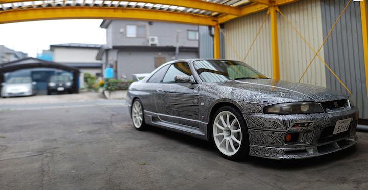 Artist Uses Sharpie to Cover Husband's Skyline GTR with