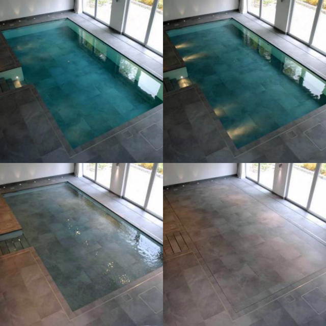 Moving floor creates optional indoor pool for Disadvantage of indoor swimming pool