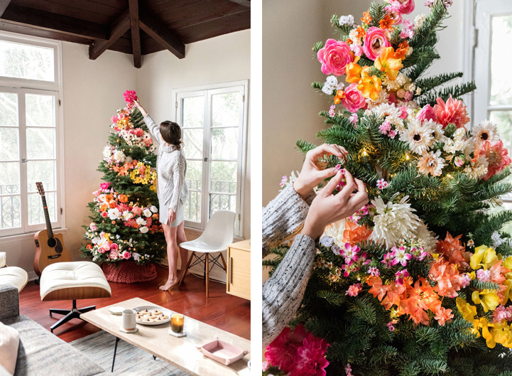 People Decorating For Christmas christmas trees are decorated with flowers instead of ornaments