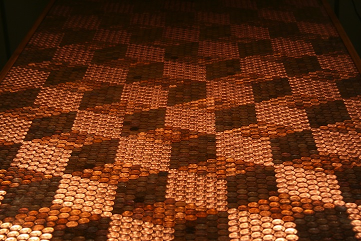 DIY Tabletop Shimmers with Intricate Design of 5,218 Pennies