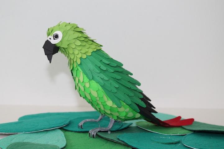 Фото поделок из бумаги попугай