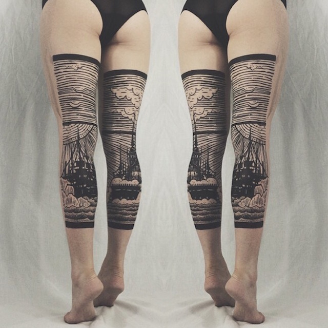 Stunning Diptych Tattoos Form Landscapes Across The Backs