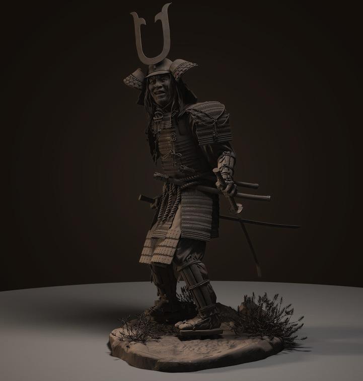 amazing 3d digital sculptures of fierce samurais