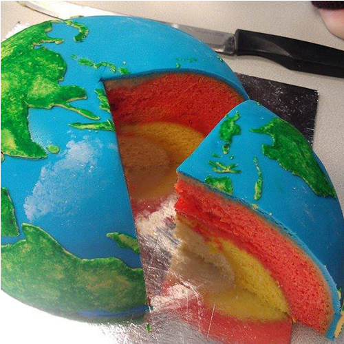 Earth Cake With Inner Core Outer Core Mantle And Crust