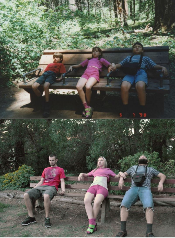 siblings recreate childhood photos as a gift for their parents