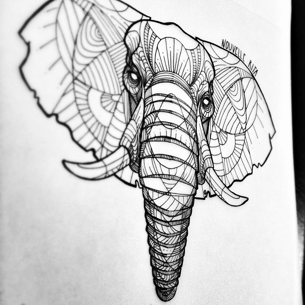 Line Drawing Animal Tattoos : Artistic animal tattoos made with exquisitely bold contour