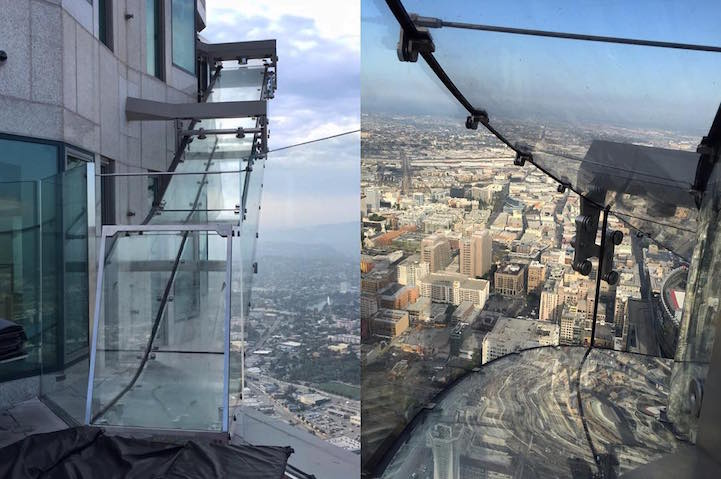 thrilling glass slide at 1 000 feet above los angeles opens to the public