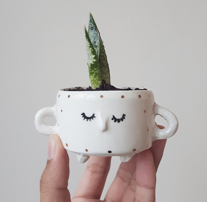 ceramic face pots  Quirky Ceramic Face Pots Are Given a Wild Hairdo When You Add a Plant