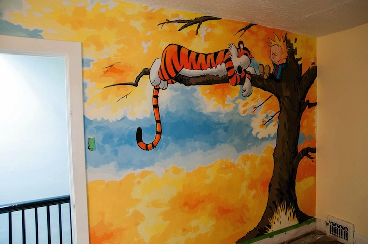 awesome calvin and hobbes mural painted for a nursery ForCalvin And Hobbes Nursery Mural