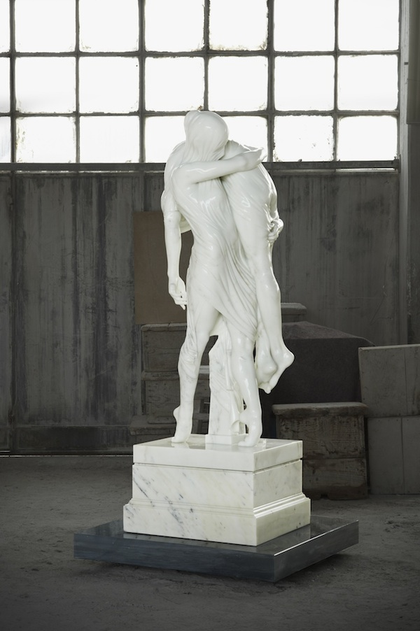 White Marble Statue : Stunning white marble sculpture ballerina and a boy