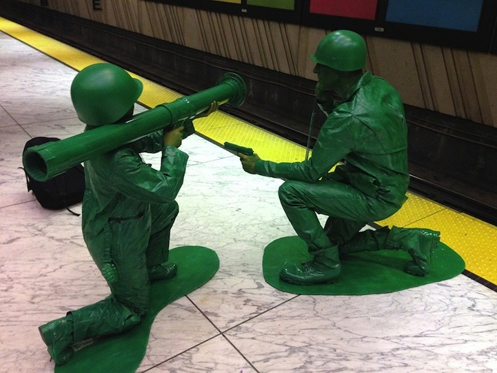 & Halloween Couple in Homemade Green Army Men Costumes