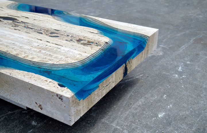 Marble And Resin Tables Incorporate The Soothing Depth Of