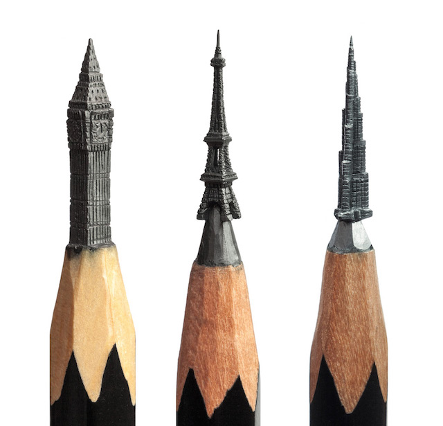 Fragile pencil lead sculptures painstakingly carved by hand