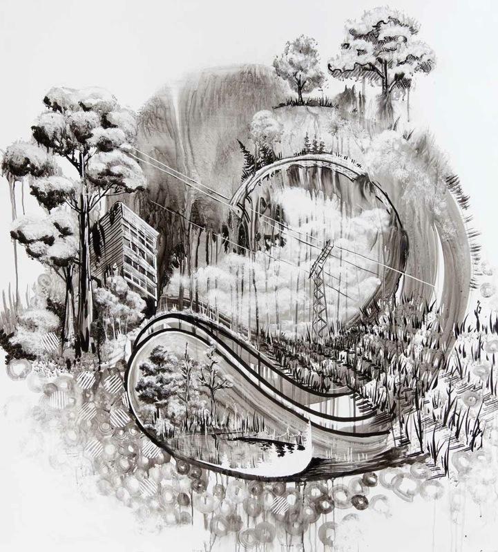 Черно-белые картинки рисованные природа
