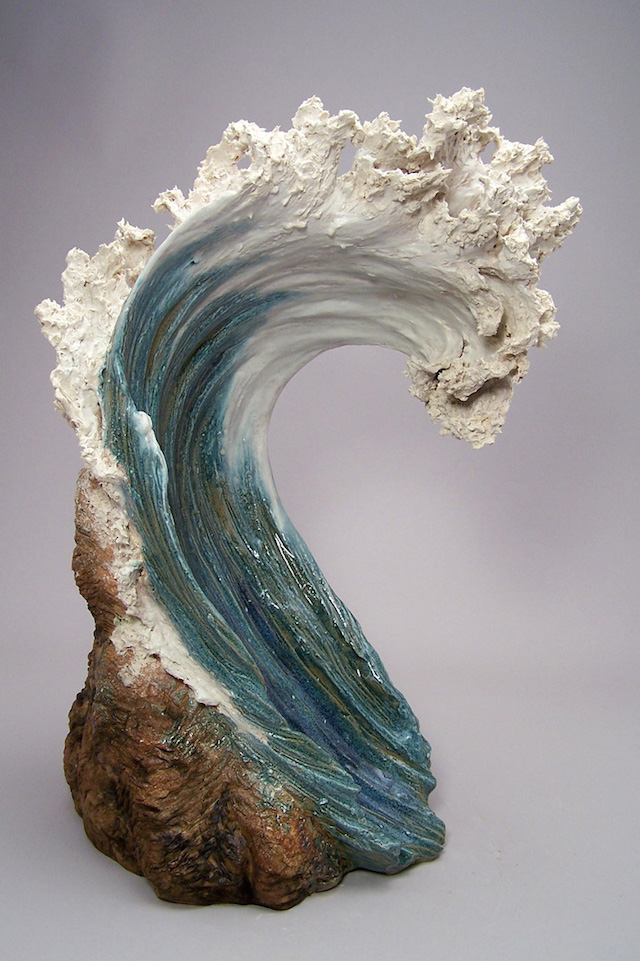 ocean inspired ceramic sculptures resemble cresting waves