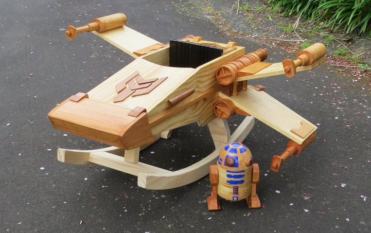 Wooden Ride On Rocker Toy Modeled After A Star Wars