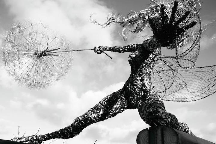 incredibly dynamic steel wire fairy sculptures dance in the wind. Black Bedroom Furniture Sets. Home Design Ideas