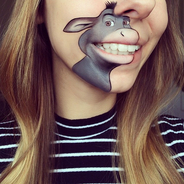 donkey shrek laura jenkinson lip art cartoon character makeup mouth lipstick