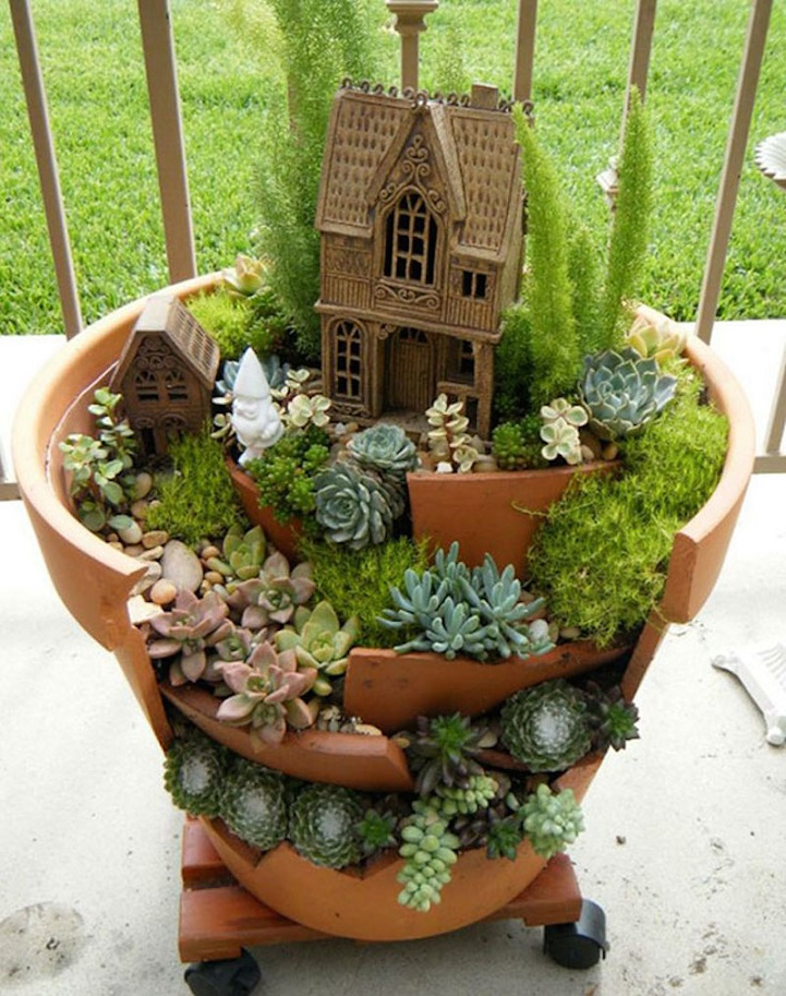 Whimsical Diy Project Transforms Broken Pots Into Beautiful Fairy Gardens