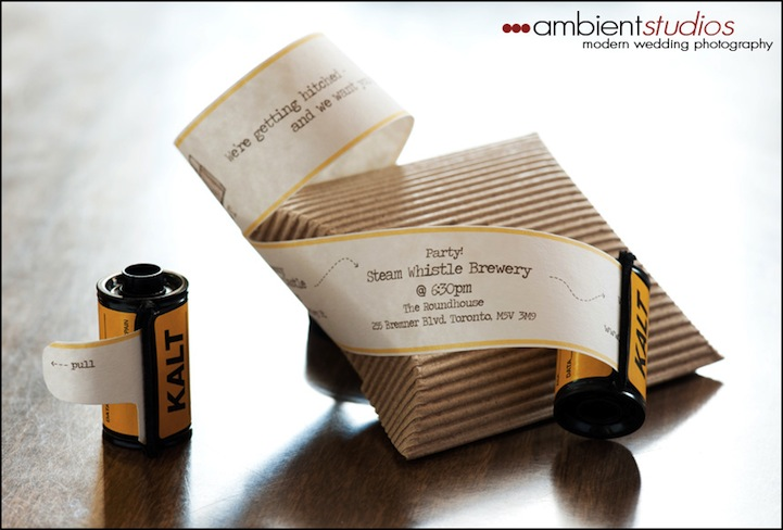 creative film wedding invitations 5 pics