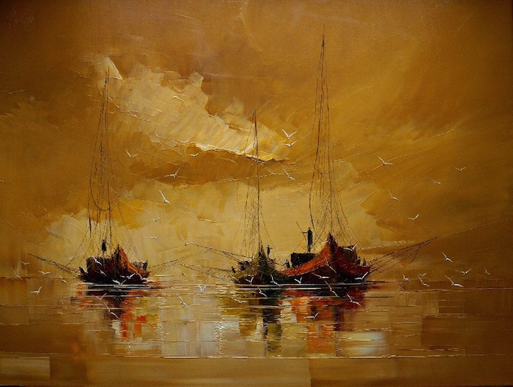 Oil Paintings Of Ships At Sea