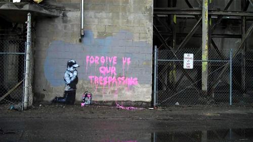 Forgive Us Our Tresspassing Banksy 2 Pics