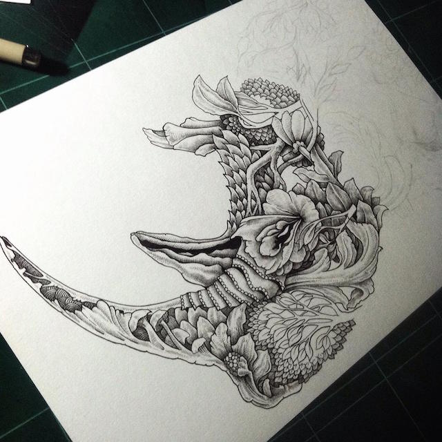 Intricate Pen Drawings Beautifully Combine Animals With Nature